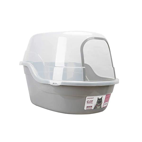 Petphabet Covered Litter Box, Jumbo Hooded Cat Litter Box Holds Up to Two Small Cats...