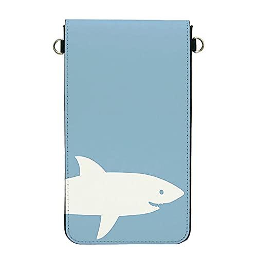 グランサンク スマホポーチ 入れたまま操作 レディース ショルダー 斜め掛け スマホバッグ サメ 【サメ・いっぴき・ライトブルー】