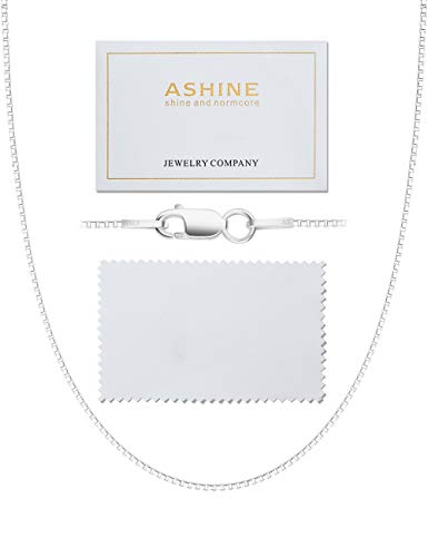 ASHINE Sterling Silver Chain Necklace for Women 1mm Box Chain Lobster Clasp 24 Inches