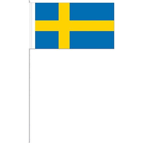 DH-Konzept 10 Fähnchen * SCHWEDEN * als Deko für Mottoparty oder Länder-Party // Sweden Skandinavien Flaggen Fahnen Papierfahnen Flag
