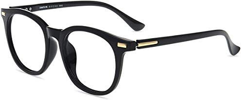 Firmoo Gafas Luz Azul para Mujer Hombre, Gafas Filtro Antifatiga Anti-luz Azul y contra UV400 Ordenador de Gafas Montura TR90 para Protección los Ojos, S8718 Negro