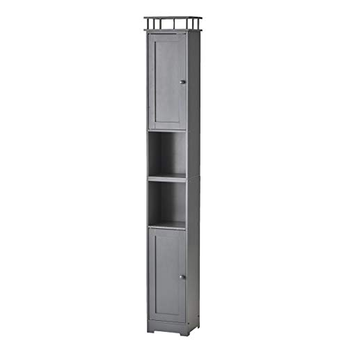 The Lakeside Collection Slim Bathroom Storage Cabinet - Space Saving Organizer - Gray