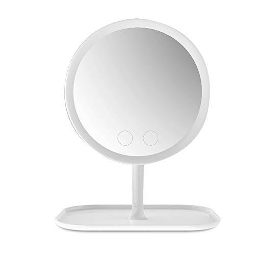 Miroir de Maquillage LED Portable, Miroir de Maquillage de Bureau à Domicile, Miroir de Maquillage Rechargeable, Miroir de Maquillage Multifonction Trois en Un