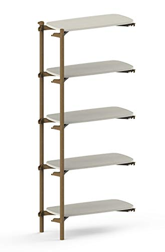 KETER FOM by Keter 5 Tier ADD ON Modern Bookshelf for Modular Shelving System Made with Sustainable Manufacturing – Perfect for Home Décor Office Storage and Organization White