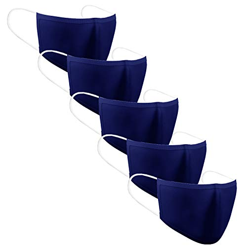 KUNSTIFY 5 pezzi mascherina in tessuto protezione bocca viso   lavabile riutilizzabile in cotone protezione bocca uomo donna mascherine bambini antigoccia Maschera face mask blu