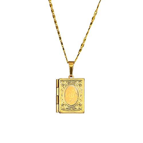 Manyo Gold Box Foto Medaillon Anhänger Frauen Männer Islamische Halskette Schmuck Exquisite Erinnerung Geschenk