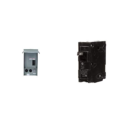 Siemens TL137US Talon Temporary Power Outlet Panel with a 20, 30, and 50-Amp Receptacle Installed, Unmetered & Q120 20-Amp Single Pole Type QP Circuit Breaker