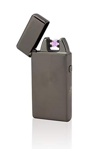 TESLA Lighter TESLA Lighter T05 Lichtbogen Feuerzeug, Plasma Double-Arc, elektronisch wiederaufladbar, aufladbar mit Strom per USB, ohne Gas und Benzin, mit Ladekabel, in edler Geschenkverpackung, Schwarz gebürstet Schwarz-gebürstet