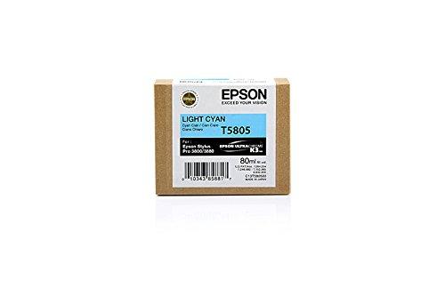 Original Epson C13T580500 / T5805 Tinte (hell Cyan, Inhalt 80 ml) für Stylus Pro 3800, 3880