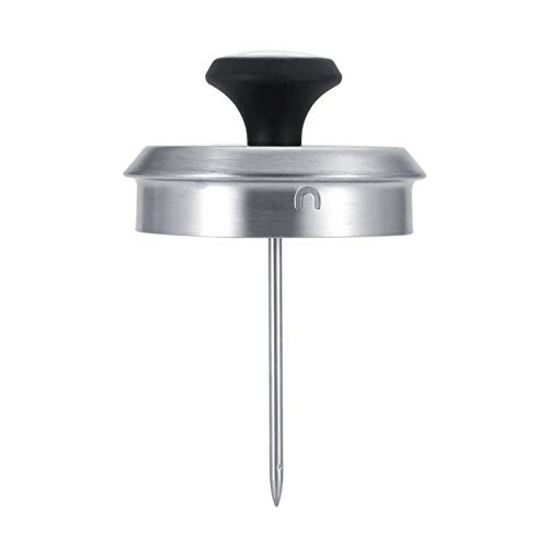 Hervidor de café, cafetera de acero inoxidable en forma de nube, cafetera exquisita anti-óxido de boca fina, para estufas de gas, eléctricas y de inducción(Sanding and Thermometer 1L)