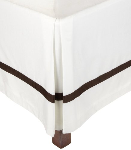 Superior 300 Thread Count 100% Cotton, Hotel Collection, 15 Inch Drop, Twin Bed Skirt, White with Chocolate