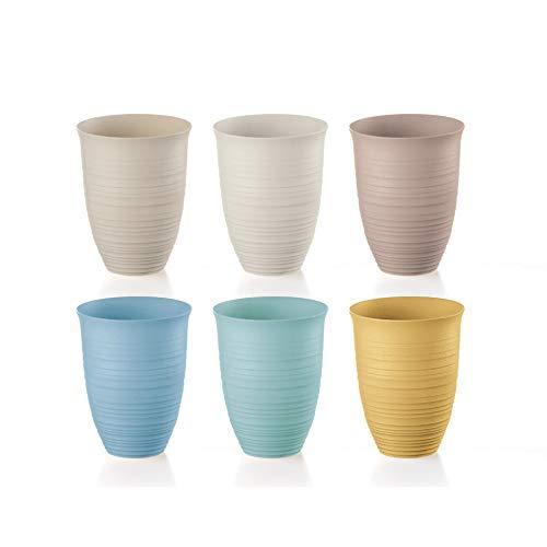 Guzzini Tierra - Set di 6 bicchieri alti 100% plastica PET riciclata, lavabile in lavastoviglie, infrangibile, completamente riciclabile, Made in Italy
