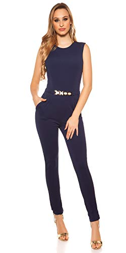 Koucla Damen Overall Jumpsuit Playsuit mit Schnalle (Dunkelblau, S)