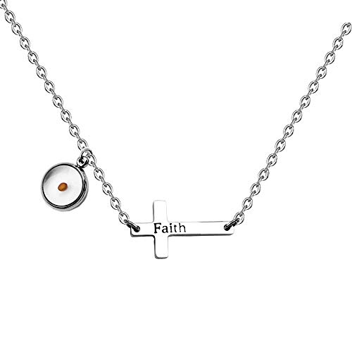 Faith Mustard Seed Sideway Cross Necklace Inspirational First Communion Gift (necklace)