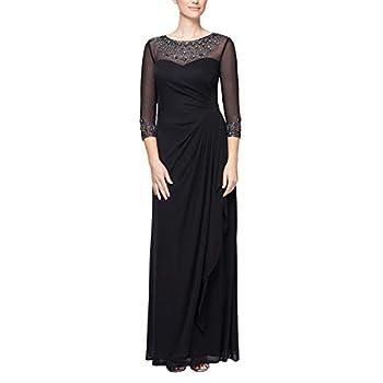 Alex Evenings Women s Long A-Line Sweetheart Neck Dress  Petite and Regular Sizes  Black 14