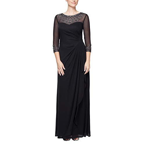 Alex Evenings Women's Long A-Line Sweetheart Neck Dress Regular Sizes, Black (Petite), 16P