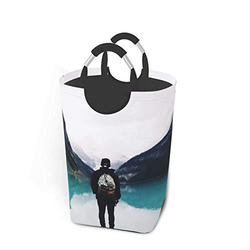 Bolsa de ropa sucia, de 22.7 pulgadas, grande, cesta de almacenamiento plegable para el cuarto de baño/juguetes, dormitorio, guardería/decoración del hogar, para hombres, playa, volcán nube