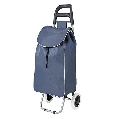 wuuhoo® I Einkaufstrolley Shoppy mit Rollen und Aluminiumgestell 34 Liter I Einkaufswagen in Blau faltbar für unterwegs I Rollwagen handlich und abwaschbar I Handwagen mit verstärktem Material