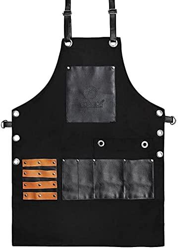 FORGICA - Delantales de piel sintética profesional para hombre y mujer, delantal de chef para cocina, peluquería de salón - Multiuso, ajustable con bolsillos - rojo y negro