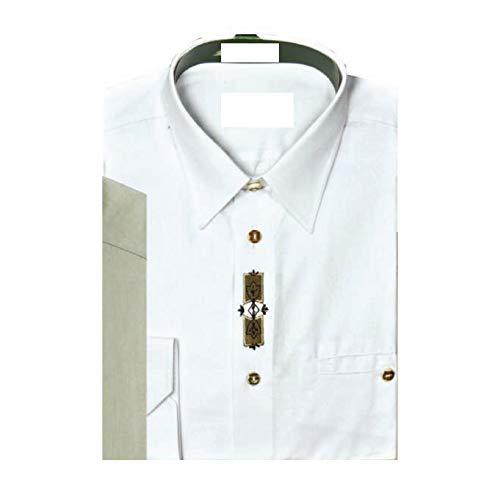 SKOGEN Hemd weiß mit Stickerei Knöpfe aus Hirschhorn Trachtenhemd Jagdhemd Freizeithemd (46)