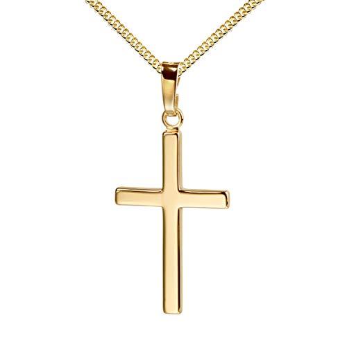 Kreuz-Anhänger mit Kette für Damen, Herren und Kinder als Ketten-Anhänger mit Kette 585 Gold 14 Karat Hochglanz mit Schmuck-Etui