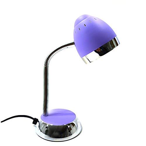 Schreibtischleuchte Tom Farbe chrom-lila verstellbar mit Flexarm Schreibtischlampe Tischlampe