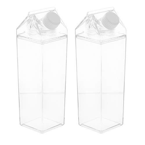 Hemoton 2Pcs 500Ml Quadrat Klare Wasserflasche Transparente Milchbecher Leere Milchkarton Wasserflasche Einfache Tragbare Auslaufsichere Plastik Trinkwasserflasche