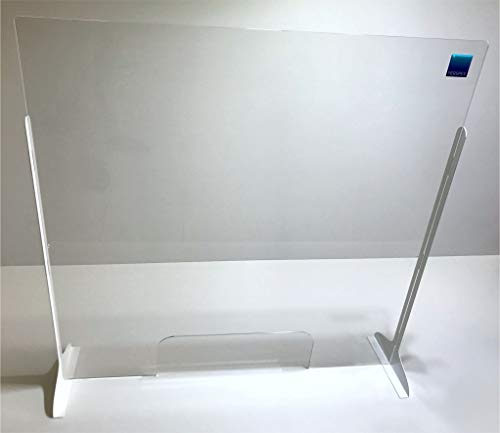 Protective Cough & Sneeze Guard, Portable or Permanent Adhesive Mount, Easy Installation, Stable Structure with Metal Legs, Transaction Window & Speak Holes, Reduces Exposure to Hazards, Size: 40 x 40 Inches