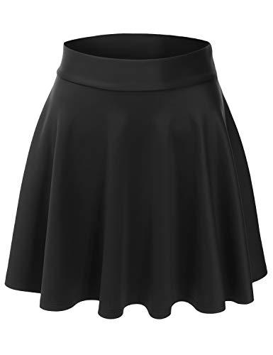EIMIN Women's Versatile Elastic Stretchy Flared Casual Mini Skater Skirt Black L