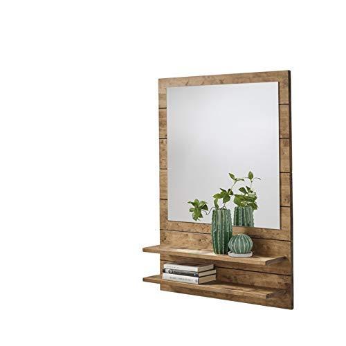 HOGAR24 ES Mueble recibidor para Entrada con Espejo y Dos baldas, Acabado Madera Natural.