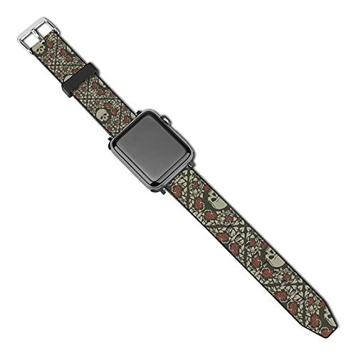 Correa de repuesto para reloj Apple Watch de 38 mm, 40 mm, correa de repuesto para iWatch Series 5/4/3/2/1, calaveras y rosas