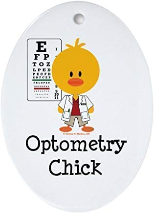 Mesllings Optometry Chick Optometrist Ornament Oval Ceramic Christmas Ornaments for Christmas Tree Decoration Novelty Gifts for Kids Girls Women