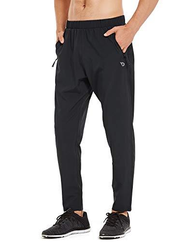 BALEAF Men's Lightweight Running Pants Tapered Woven Joggers Sun Protection UPF 50+ Zipper Pockets Black Size L