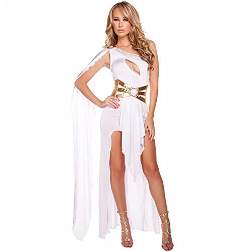 Adulto Sexy Vestido Reina Traje Mujeres Disfraces de Halloween Cosplay Vestido de Fiesta de Masquerade,Blanco,L