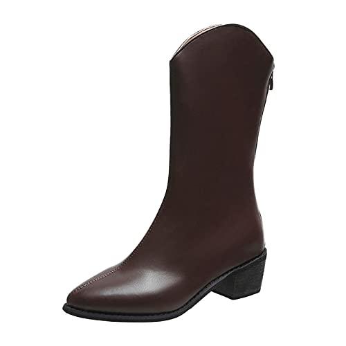 Zapatillas de Deporte para Mujer, Plataforma, Color sólido, Cabeza Redonda, Zapatos Planos para Mujer, cuñas Transpirables Informales, Mocasines Caminar(M30_Brown,40)