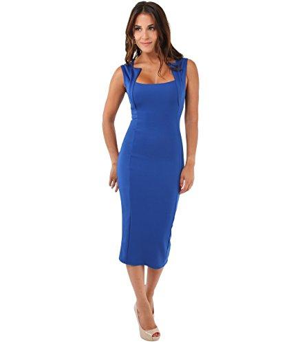 KRISP Vestido Ajustado Cuello Cuadrado, Azul Eléctrico, 46, 6872-ROY-18