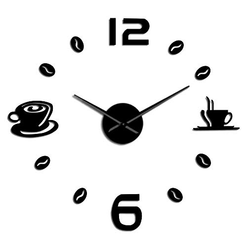 WAWD DIY Big Wall Clock Silent Acrylic Mirror Effect Frameless Giant Wall Clock Cafe Coffee Cup Coffee Bean Wall Hanging Suitable for Living Room Bedroom Kitchen Home Decoration