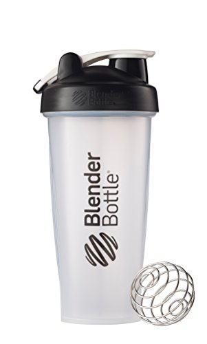 BlenderBottle Classic Shaker Bottle Perfect for Protein Shakes and Pre Workout, 28-Ounce, Clear/Black/White