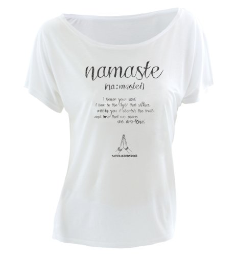Natural Born Yogi Damen Yoga Shirt Namaste Love, Weiß, L
