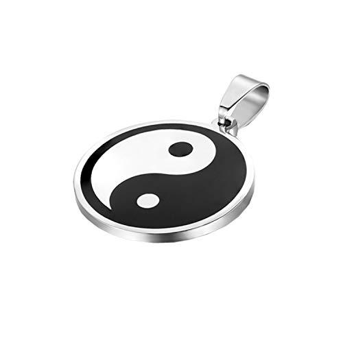 JewelryWe Schmuck Edelstahl Tai Chi Yin und Yang Anhänger mit 55cm Kette, Halskette für Herren Damen, Weiß Schwarz