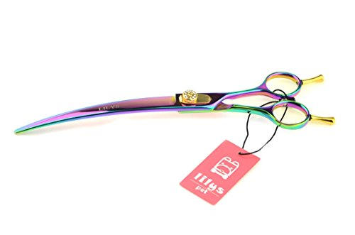 Lilys Pet 8-Inch Rainbow Color Curved Scissor