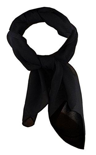 TigerTie Damen Chiffon Nickituch in schwarz einfarbig unicolor - Halstuch Größe 50 cm x 50 cm
