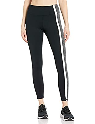Betsey Johnson Women's Side Stripes Solid High Rise Ankle Legging, Black/Charcoal, S