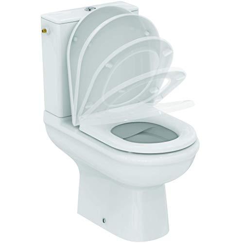 Ideal Standard Exacto Pack WC sur pied à poser Cuvette sans bride Abattant silencieux Frein de chute Sortie horizontale Blanc brillant R006901