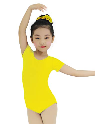 High Elasticity Short sleeve Toddler Girls Leotards for Ballet Dance Gymnastics One-piece Dancewear (Yellow, XL)