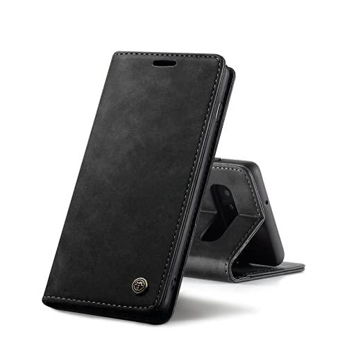 Chocoyi Compatible Funda Samsung Galaxy S10 Plus Flip Leather Edition,magnético, función de Soporte y Ranuras para Tarjetas-Negro