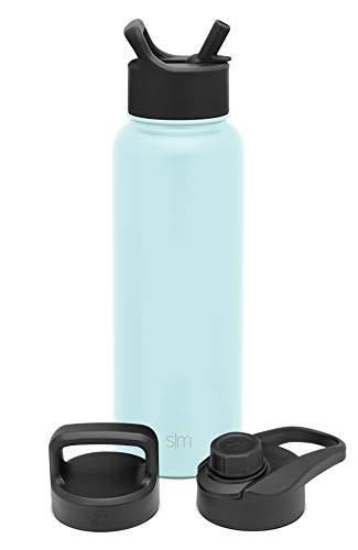 Simple Modern Botella de agua aislada con 3 opciones de tapa: pajita, voltear, chug, mango reutilizable de boca ancha, botella de acero inoxidable, termo deportivo, 40 onzas, playa
