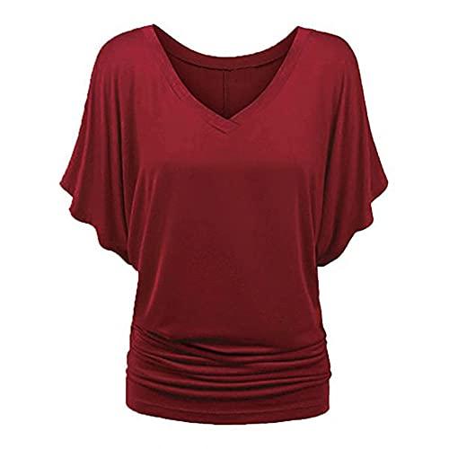 N\P Camiseta de manga de verano, Vino, X-Large