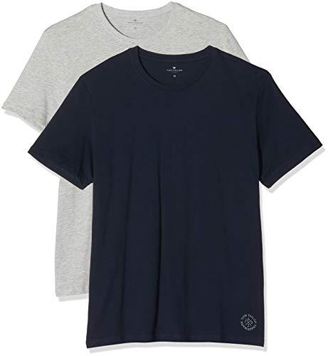TOM TAILOR Herren Doppelpack Crew Neck T Shirt, Sky Captain Blue, XL EU