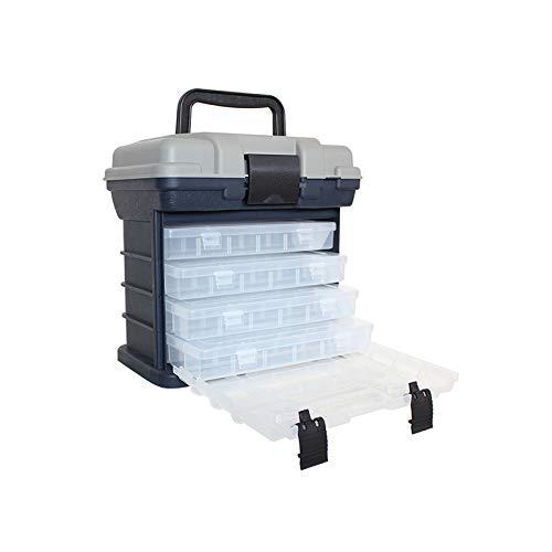 GreenCC Angelgerät Box, tragbare multifunktionale 4-lagige Angelbox zur Aufbewahrung und Organisation von Angelzubehör, Werkzeuge